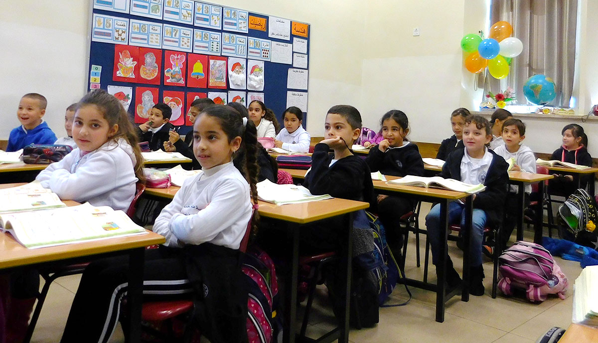 A photo of young students in a classroom at St. John's Episcopal School in Haifa, Israel