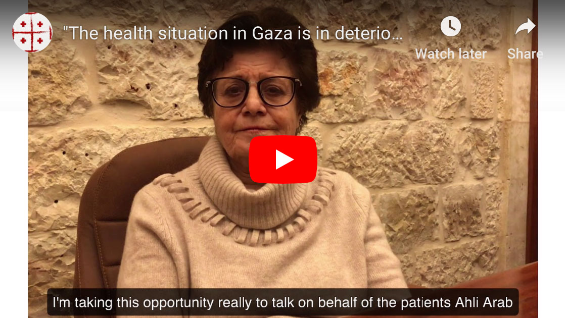 A screenshot of the director at Ahli Arab Hospital in Gaza City speaking in video.