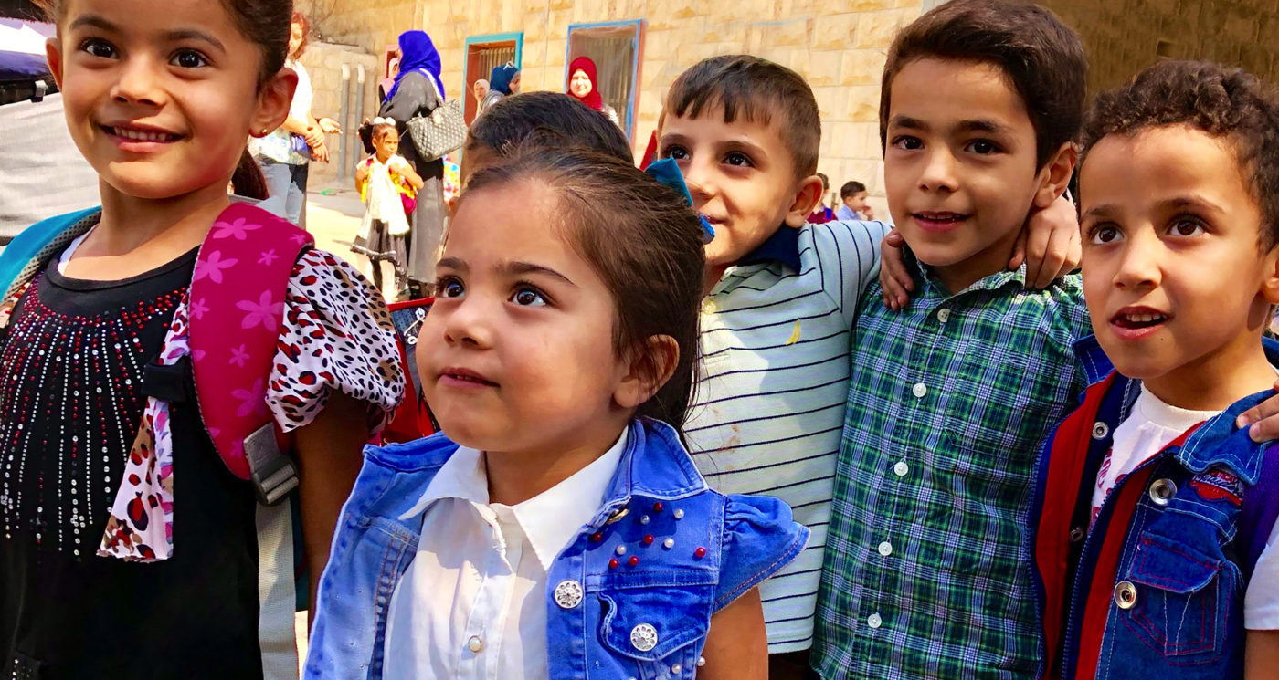 A photo of Syrian refugee children at Schneller School in Marka, Jordan