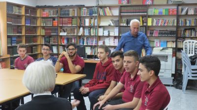 A photo of young men in lecture at Palestinian school, St. George's.