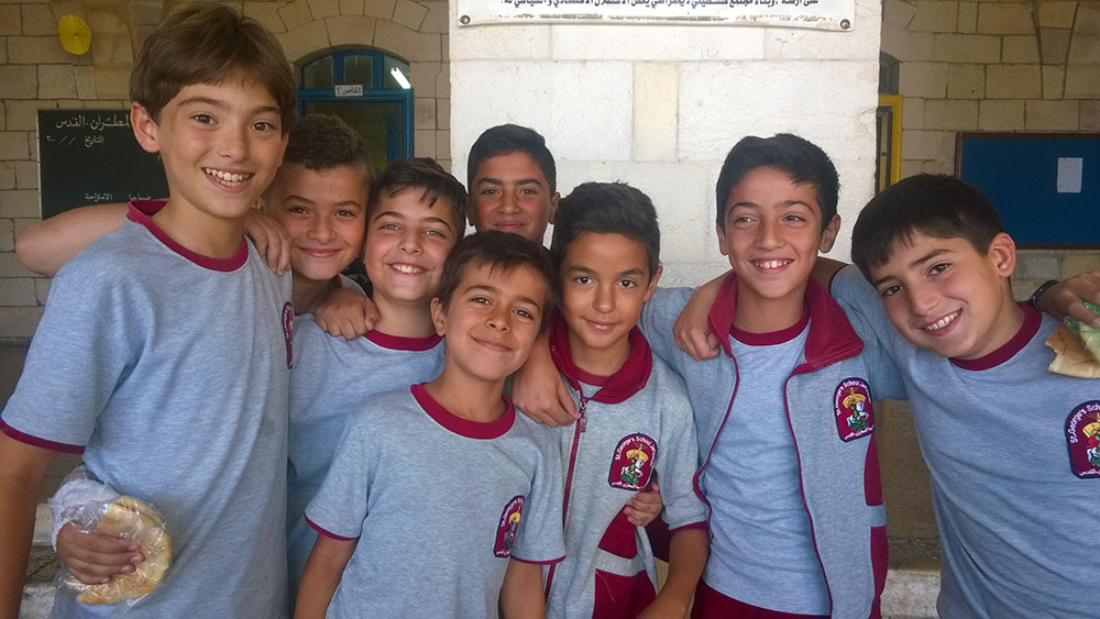 A photo of boys at the St. George's School in East Jerusalem