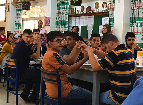 A photo of deaf students in class at Holy Land institute for the deaf