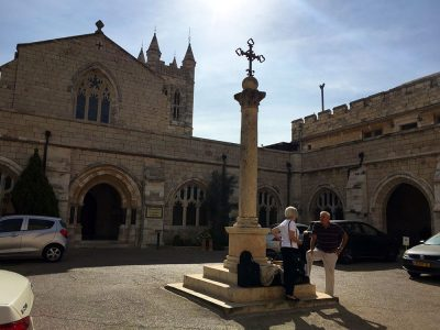 A photo of the courtyard of St. George's Cathedral in East Jerusalem.