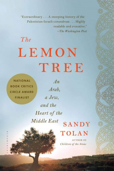 A photo of the cover of the book called The Lemon Tree by Sandy Tolan