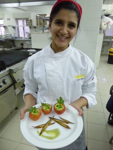 A student shares her entry in a cooking competition at ETVTC