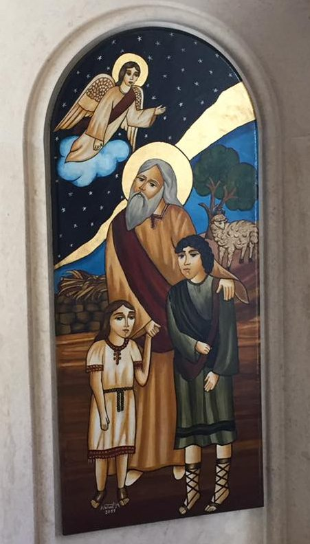 a painting in the chapel of Holy Land Institute for the Deaf of Abraham with his sons Ishmael and Isaac